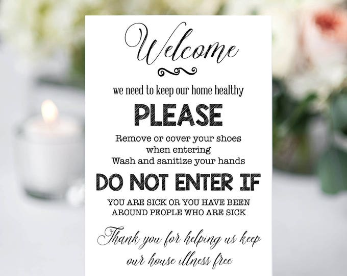 Wash Your Hands Sign, Medically Fragile Sign, Please wash your hands, Instant Download, You Print, Wash Hands Sign, Front Door Sign
