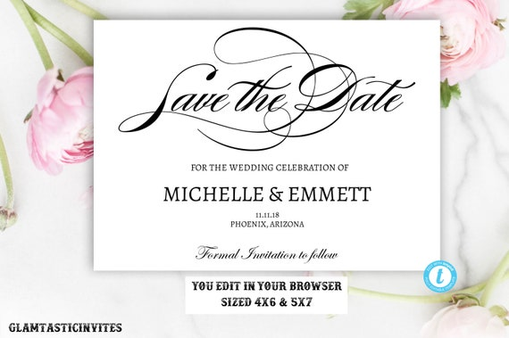 save the date card template elegant calligraphy script editable