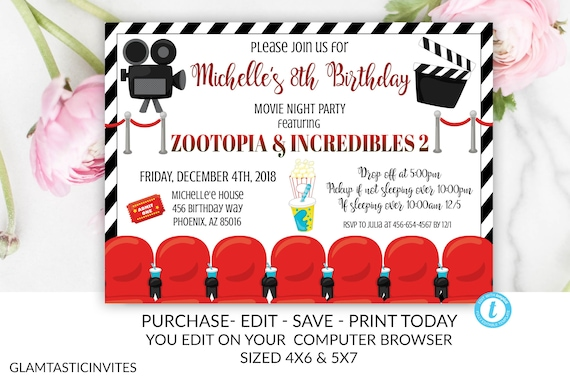 photograph relating to Printable Movie Ticket named Video clip Evening Invitation, Online video Birthday Evening Invitation
