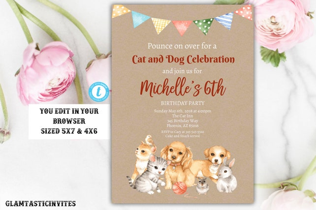 Cat And Dog Themed Birthday Party Template Invitation Instant Download