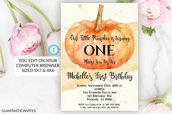 Pumpkin Birthday Invitation Boy Party Girl First 1st Template Editable DIY