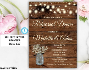 Rustic Rehearsal Dinner Invitation Template, Rustic Invitation, Template, Flower Invitation, Rehearsal Dinner Invitation, Instant Dowload