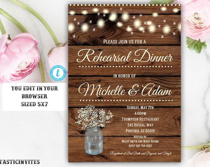 Rustic Rehearsal Dinner Invitation Template, Rustic Invitation, Template, Flower Invitation, Rehearsal Dinner Invitation, Instant Dowload