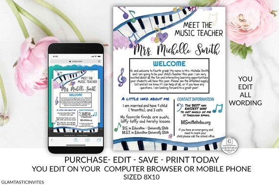 Meet the Music Teacher Template, Welcome back to school note