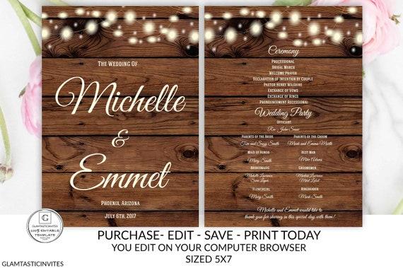 Rustic Wedding Program Template Ceremony Program Template