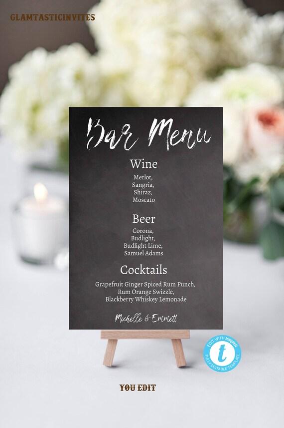 Wedding Bar Sign Menu Template Printable DIY Chalkboard YOU EDIT