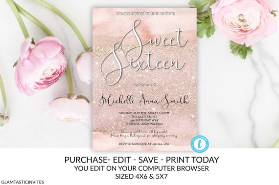watercolor rose gold glitter sweet sixteen birthday party invitation