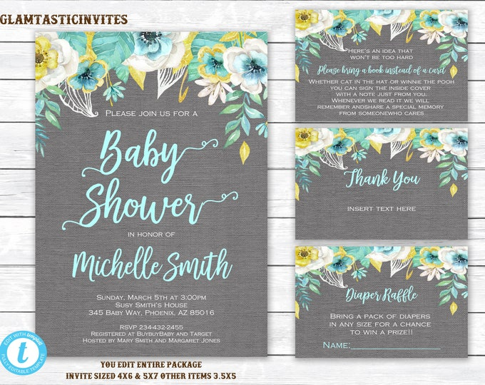 Baby shower Invitation Package, Floral Baby Shower Invitation, Baby Shower Template, Watercolor, Baby Shower Invite, You Edit, Boy, Editable