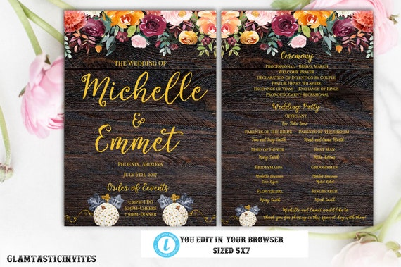 Rustic Wedding Program Template Ceremony Instant