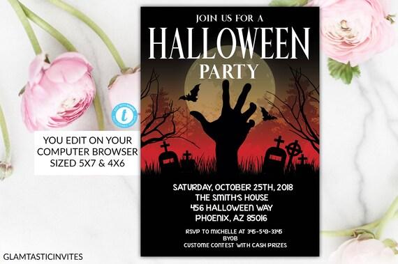Spooky Halloween Party Invitation Halloween Flyer Halloween Invite