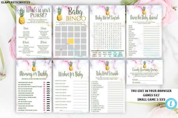 Pineapple Baby Shower Game Package Template Instant Download
