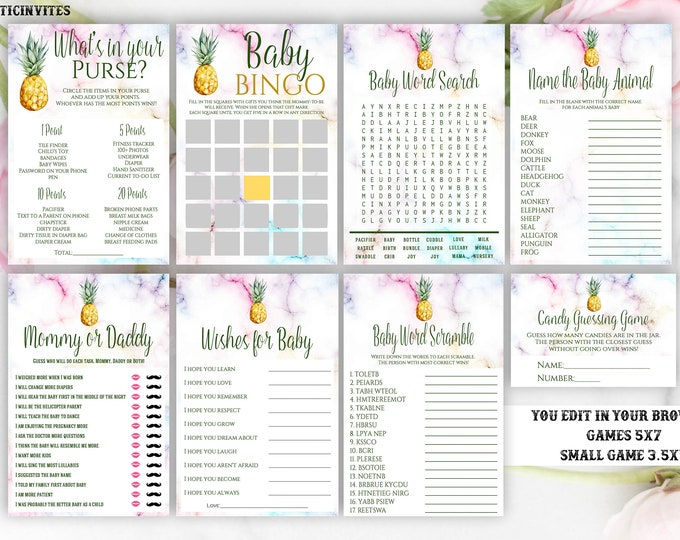Pineapple Baby Shower Game Package Template, Instant Download, Editable, Printable, Pineapple, Baby Shower Game, Baby Shower Activity, DIY