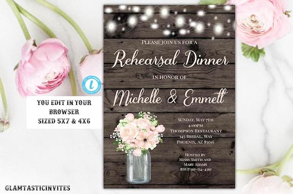 Rustic Peach Floral Rehearsal Dinner Invitation Template Editable