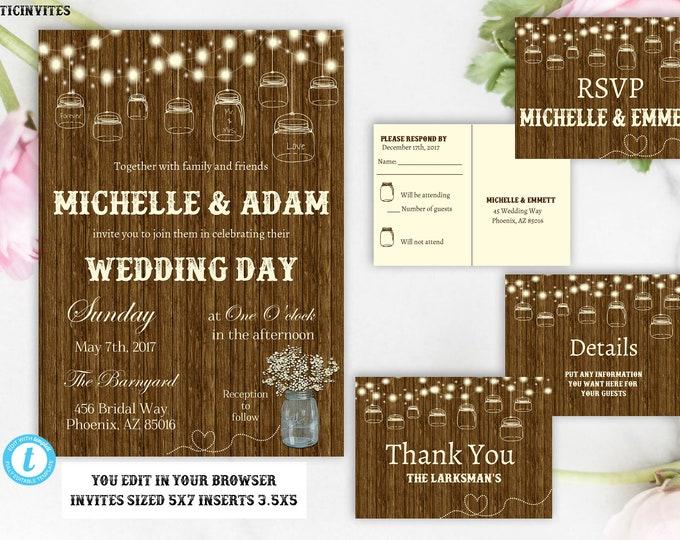 Rustic Wedding Invitation Printable, Country Wedding Invitation, Digital file, Printable, Rustic Template, Wedding Template, Invite Template