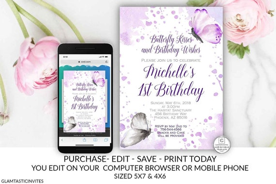 Butterfly Birthday Invitation Purple Butterflies Party Invite Template Editable Electronic Online DIY Cheap Invitations