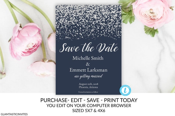navy blue and silver save the date card save the date template