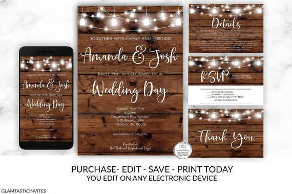 Printable Rustic Wedding Invitation Country Wedding Invitation Diy Instant Download Wedding Invitation Suite Wedding Invitation Template By Glamtasticinvites Catch My Party