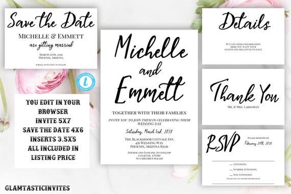 Hochzeit Einladung Vorlage Download | Etsy