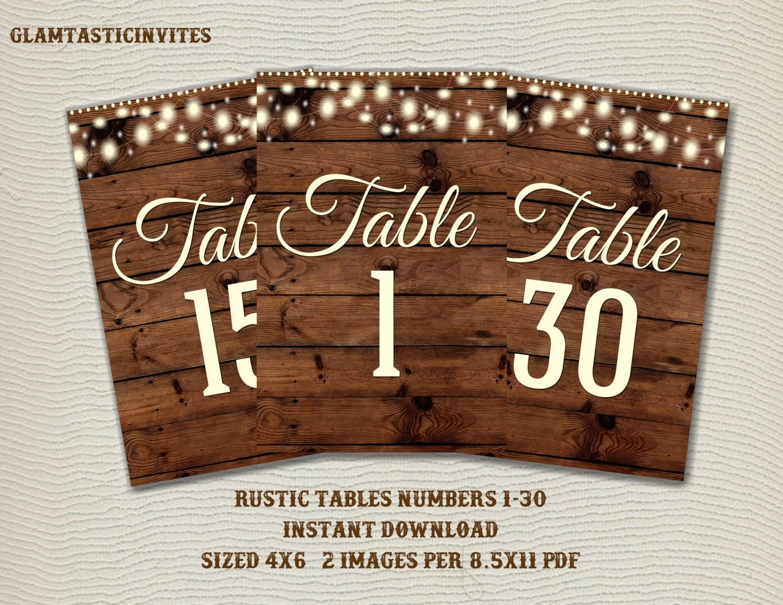 Rustic Table Numbers, Printable Table Numbers, Wedding Table Numbers ...