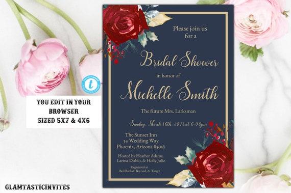 marsala navy blue gold bridal shower invitation template blue and