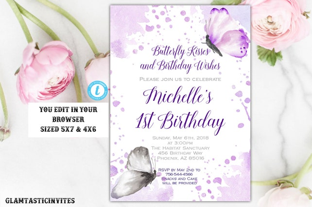 Butterfly Birthday Invitation Template Instant Download Editable DIY Printable Invite Butterflies Purple