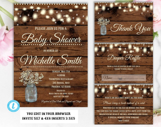 Baby Shower Invitation Editable Printable Rustic Instant Download Template Country Vintage Western Floral Mason Jar Invitation Package DIY