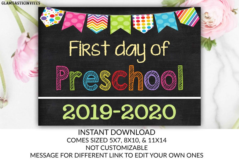 image about First Day of Preschool Free Printable named Initial Working day of College or university Indicator, Very first working day of Preschool Signal, 2019 - 2020 Chalkboard Indication, Quick Obtain, Printable, Image Prop, Initial Working day Signal