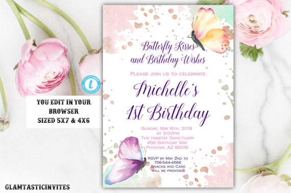 Butterfly Birthday Invitation Template Instant Download