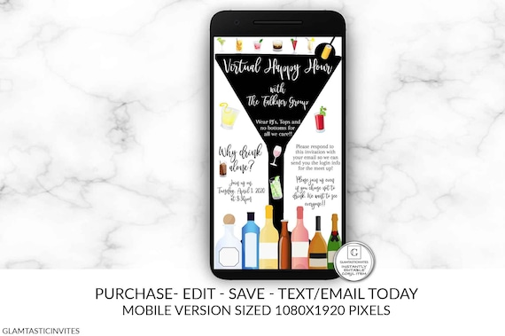 Virtual Happy Hour Invitation Editable Drinking Invitation Happy