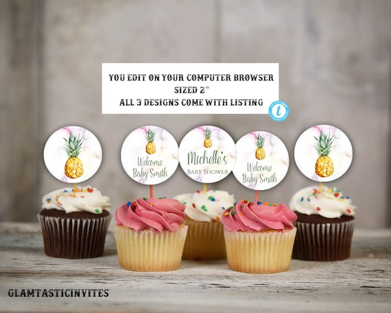 pineapple cupcake toppers pineapple template pineapple baby shower