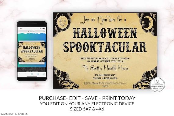 Halloween Spooktacular Invitation Template Kids