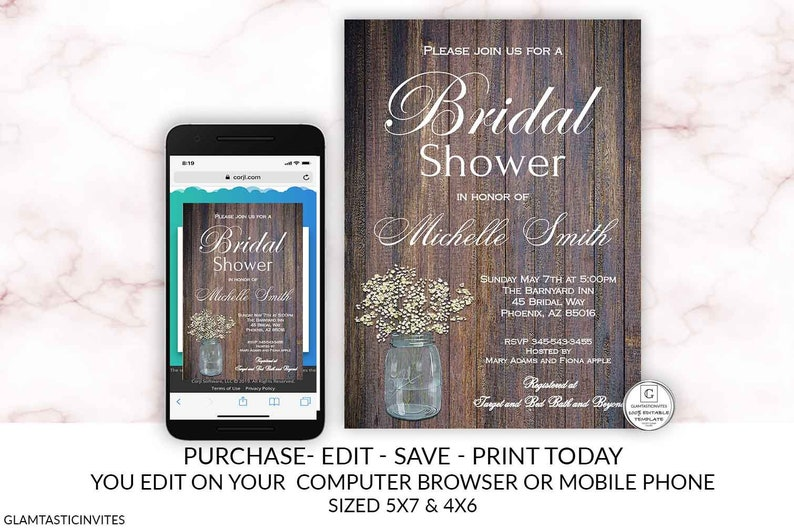 Editable Bridal Shower Invitation Babies Breath Country Rustic Wood  Background Printable Template Online Invitation DIY Electronic Invite