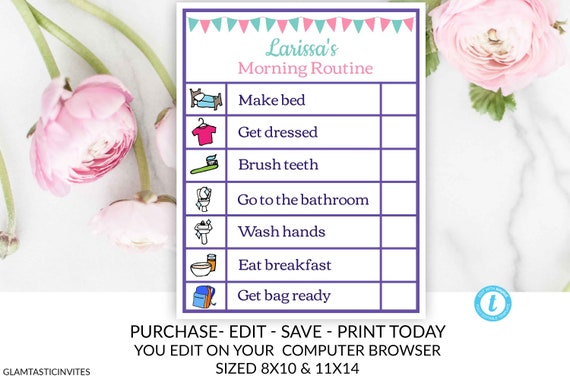 girl printable editable chore chart instant download daily