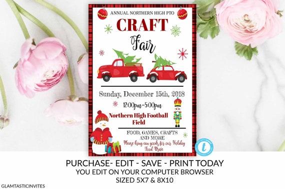 Christmas Craft Show Flyer.Holiday Craft Fair Flyer Christmas Market Flyer Pto Pta Holiday Fundraiser Christmas Flyer Holiday Event Flyer Invitation Christmas