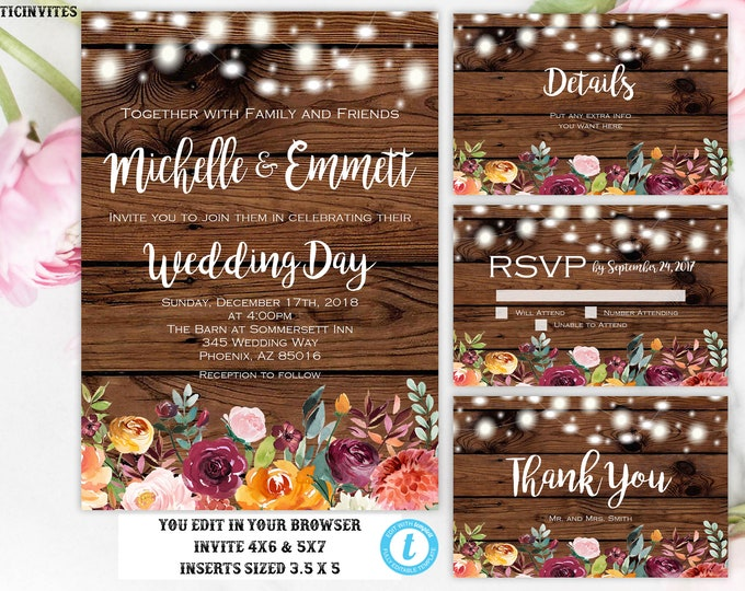 EDITABLE Wedding Invitation Suite, Instant Download, Wedding invitation Template, Fall, Floral, Editable, Printable, Rustic Wedding Template