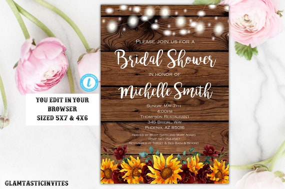 Rustic Sunflower Floral Bridal Shower Invitation Template Etsy