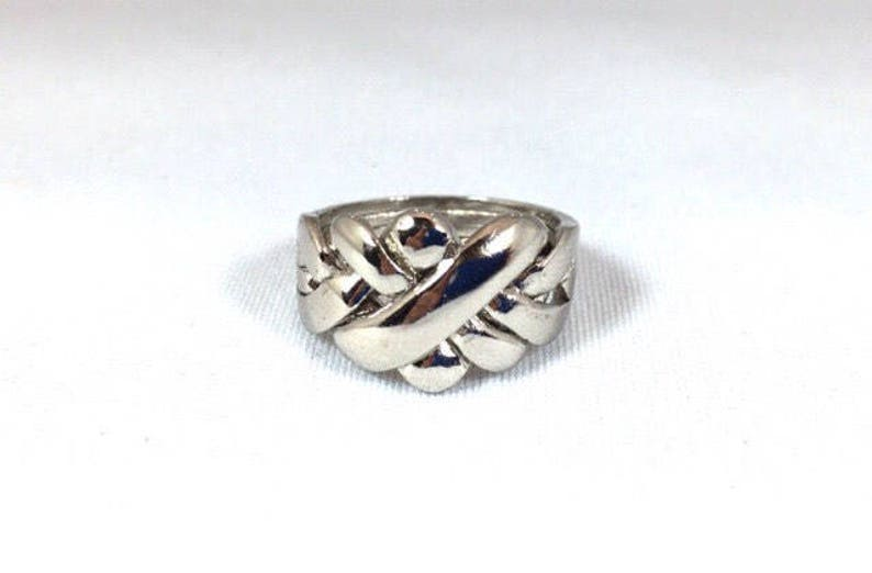 puzzle ring large band the original friendship ring in sterling silver.