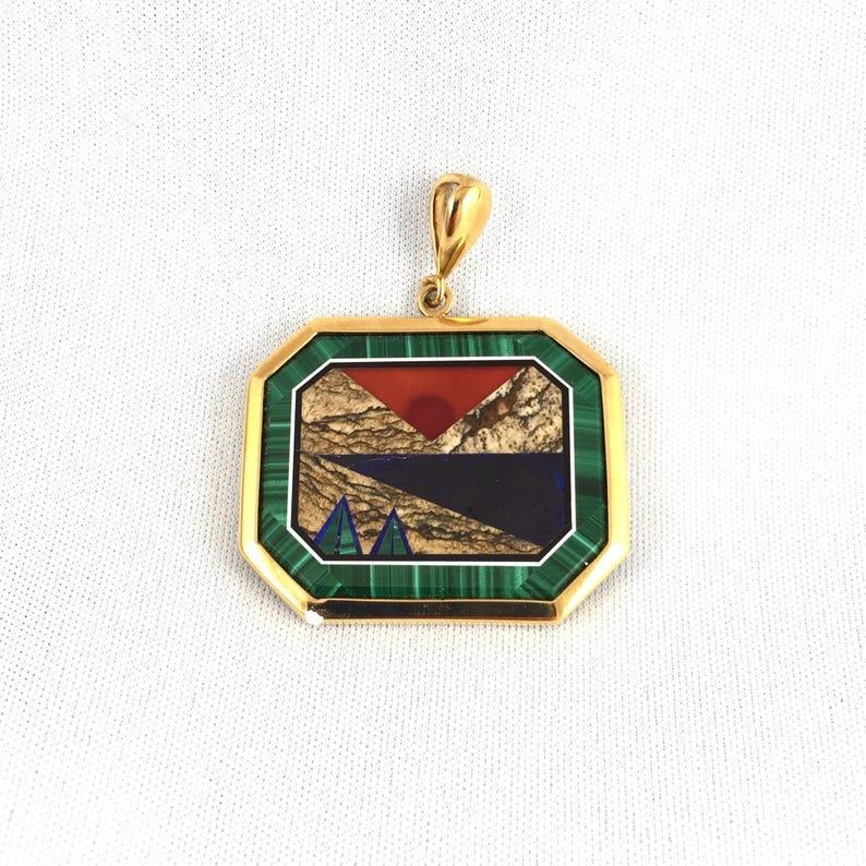 Malachite Intarsia Genuine Gemstone Pendant Gold Filled 03 image 0