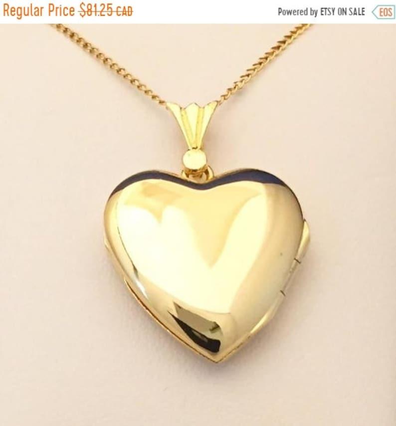 Locket Heart Shape Vintage Medium Plain Sterling Silver 14kt image 0