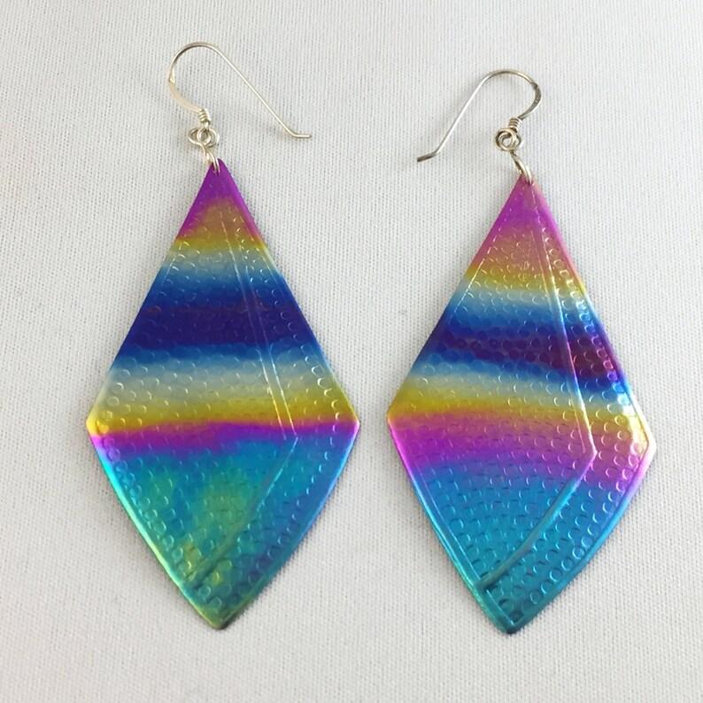 Vintage Titanium Heat Treated Rainbow Earrings Large TEf-1 image 0