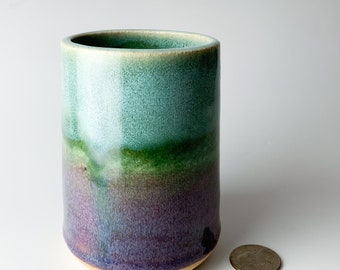 Green and Purple Handmade Ceramic Ombre Flower Vase in Blue