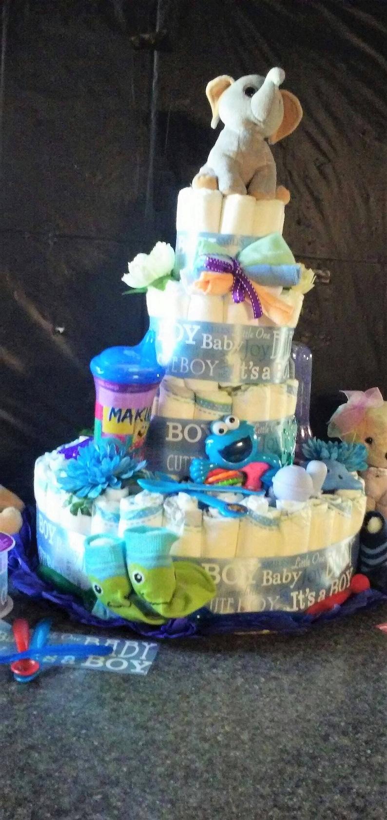 It/'s a Baby BoyFour Tier Diaper CakeForBaby ShowerNewbornNew MomExtra TallExtra LargeTabletopCenterpieceBlue Boy Diaper Cake
