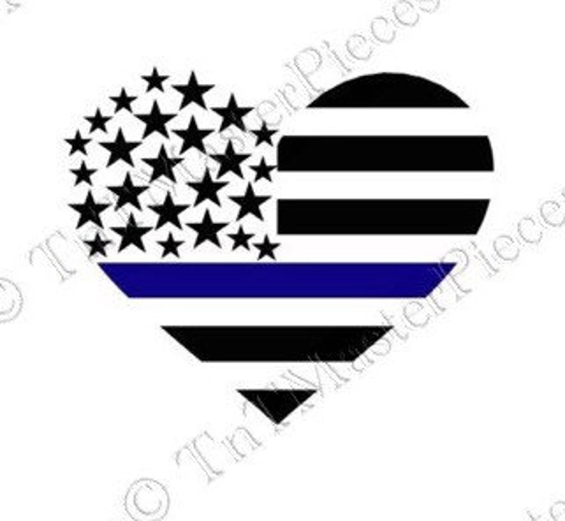 7c654f5265c Thin Blue Line Heart Vinyl Decal Magnet bumper sticker Police