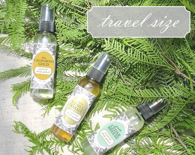 Men's Aromatic Body Splash - Travel Size // California Gold, Cedar Breeze, Vanilla Tobacco, Peppermint Eucalyptus