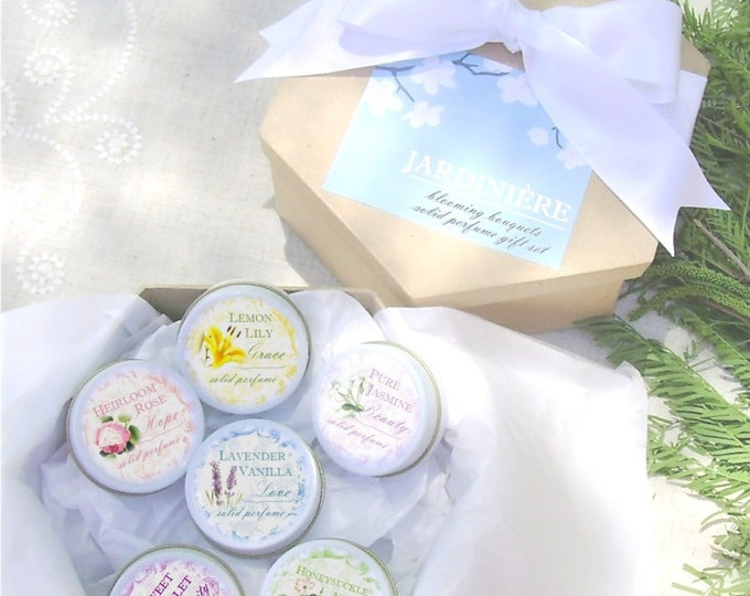 Blooming Bouquet Solid Perfume Set // Natural, Handmade // Jasmine, Rose, Lavender, Lemon Lily, Honeysuckle Apple, Violet // FREE shipping
