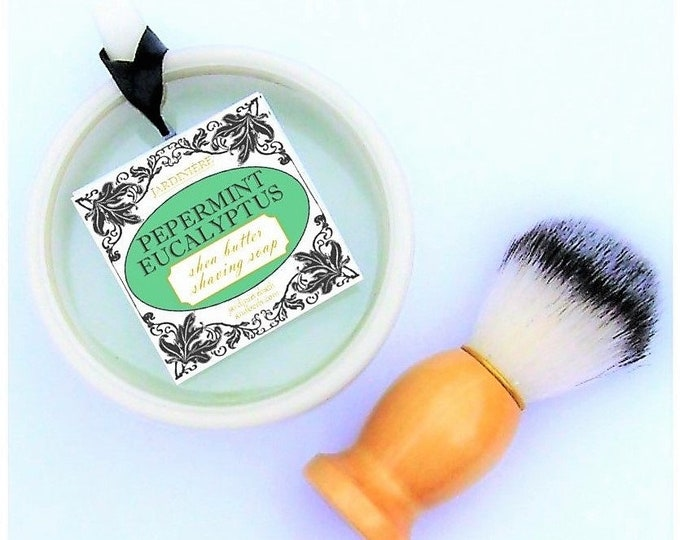 Shea Butter Shaving Soap & Brush // Coffee, Triple Citrus, Vanilla Tobacco, Cedar Breeze, Peppermint Eucalyptus // Natural, handmade