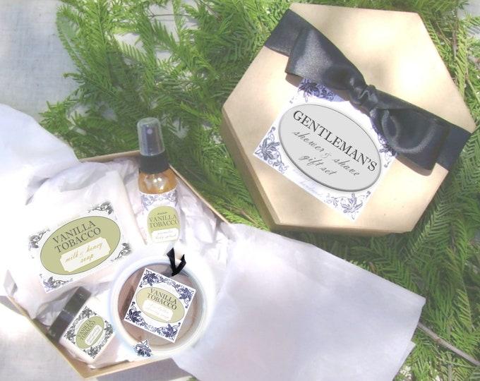 Gentleman's Shower & Shave Gift Set // Body Splash, Aloe Cream, Milk and Honey Soap, Shaving Soap and Brush // Choose your scent