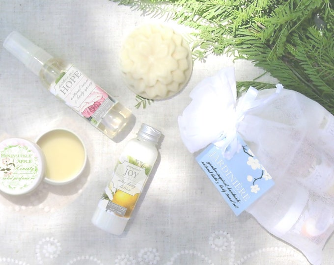 Natural Bath & Body Sampler // Flower Water, Aloe Lotion, Milk and Honey Soap, Solid Perfume // Choose Your Fragrance