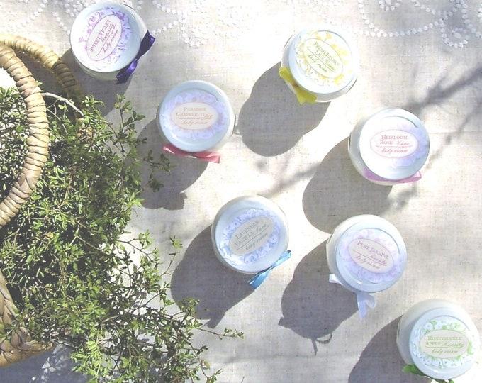 Aloe Hand & Body Cream - Glass Jar// Lemon Lily, Grapefruit, Heirloom Rose, Honeysuckle Apple, Lavender Vanilla, Jasmine, Sweet Pea, Violet