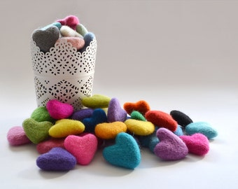 10x Felt Hearts 30-35mm - Choose your Colours - DIY Garland Supply - DIY Christmas Decor - Make your Own Wedding Decor - DIY Cake Topper